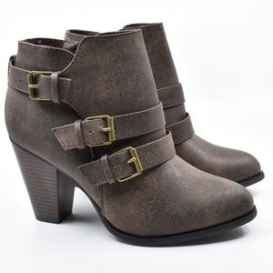 Brown Stacked Heel Ankle Boot Booties